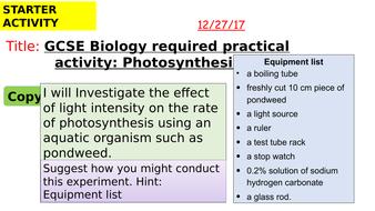 photosynthesis practical