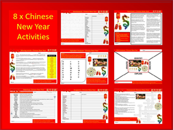 8 x Chinese New Year Starter Activities Keywords Wordsearch Crossword Countries Culture