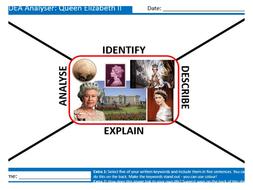 Queen Elizabeth II IDEA Analyser Sheet Keywords KS3 Settler Starter Activity Cover Lesson