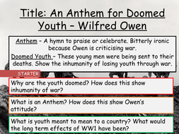 Aqa Unseen Poetry Wilfred Owen An Anthem For Doomed Youth