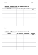 Student target sheet