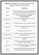 GCSE PE- Components of Fitness Worksheet - Info Sheet