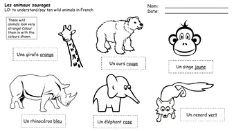 les animaux sauvages wild animals in french by shropshire14 teaching resources. Black Bedroom Furniture Sets. Home Design Ideas