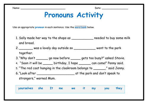 Pronouns - Activity, Word Mat and Poster