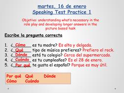 Spanish GCSE Speaking Test Revision 1 (Edexcel - new GCSE)
