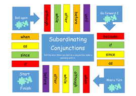 subordinating conjunctions board game by catmac01 teaching