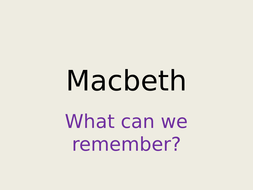 Creative Writing based on Macbeth - aimed at Year 7 weak readers