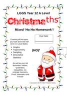 Mixed Maths Homework Year 12 A Level - 2 Christmas