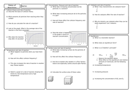 New GCSE AQA Chemistry - Rates of Reactions Revision Broadsheet