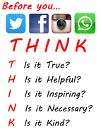 THINK - poster for safe and kind online use