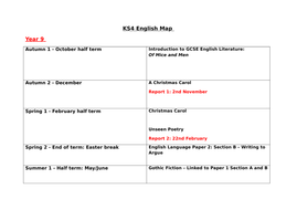 Map of study for KS4 English Years 9- 11