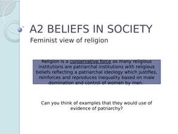 AQA Feminist view of Religion