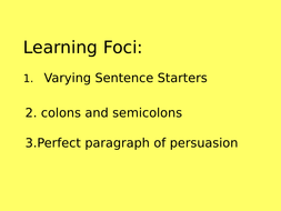 Writing Skills booklet and PPT