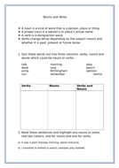 Nouns and verbs worksheet