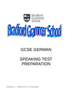 GCSE German for AQA speaking booklet