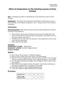 BIOLOGY AS/A LEVEL SALTERS NUFFIELD PRACTICAL WRITE-UP - Effect of temperature on hatching success