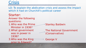 OCR A-Level History Unit Y113 - Lesson 4 - Abdication Crisis