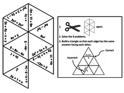 Combining Like Terms Game Math Tarsia Puzzle Teaching Resources