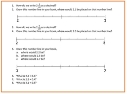 fractions to decimals  then placing decimals on a number line by  worksheet