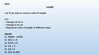 Converting Length Lessons - cm and mm/ cm and m