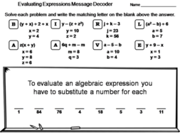 Evaluating algebraic expressions worksheet math message decoder evaluating algebraic expressions worksheet math message decoder ibookread PDF