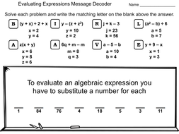 Evaluating Algebraic Expressions Worksheet Math Message Decoder By