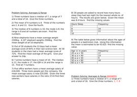 Problem Solving Averages and Range