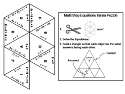 Solving Multi-Step Equations Game: Math Tarsia Puzzle by