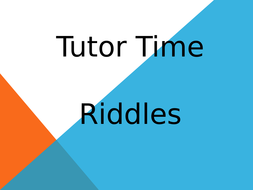 A series of 20 starter riddles for different age groups/tutor time