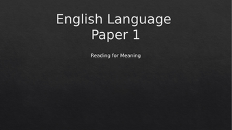 GCSE English Language Paper 1 (Q1, 2, 3 and Q5)