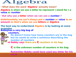 A power point presentation and worksheet on creating simple algebraic expressions.