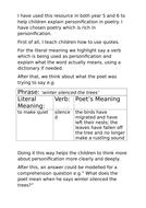 Explaining figurative language: personification