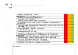 KS3 RAG statement student record sheets