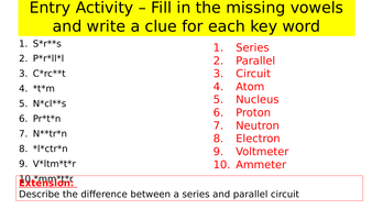 Electricity Revision lesson