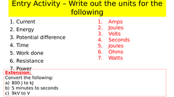 Energy resources, Power and work revision