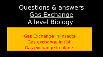 Gas Exchange: A level Biology (Questions & Answers)