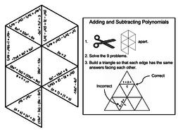 Adding and Subtracting Polynomials Game: Math Tarsia