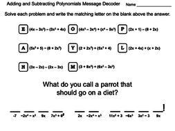 Adding and Subtracting Polynomials Worksheet: Math Message Decoder