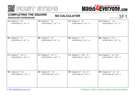 Completing the Square (Worksheets with Answers) by Maths4Everyone ...