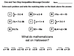 Solving One and Two Step Inequalities Worksheet: Math Message Decoder