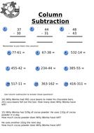 Y3/4 Column Subtraction