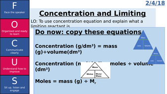 calculating concentration and limiting reactants AQA 2016/2018 C3