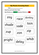 Year 1-Phonics Screening Worksheet