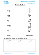 Phonics - 'ff', 'll', 'ss, Words, Match the Pictures, Write the Words
