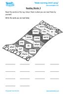 Reading Keywords 3 - EYFS Reading and Writing Keywords
