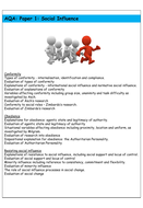 Social Influence Revision Booklet - AQA Psychology - A Level