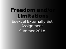 Freedom and /or Limitations Edexcel Art & Design  2018