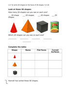 Describing properties of 3-D shapes, Year 2, set of worksheets for 3 lessons, differentiated 2 ways.