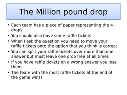 Million pound drop quiz for the Making of America OCR GCSE topic