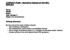 Year 6 Narrative 3 lessons Part 1 (4 way differentiation) for the film 'Replay'